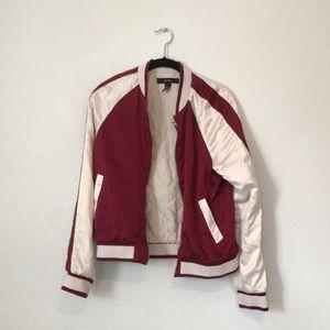 Burgundy and white satin bomber jacket